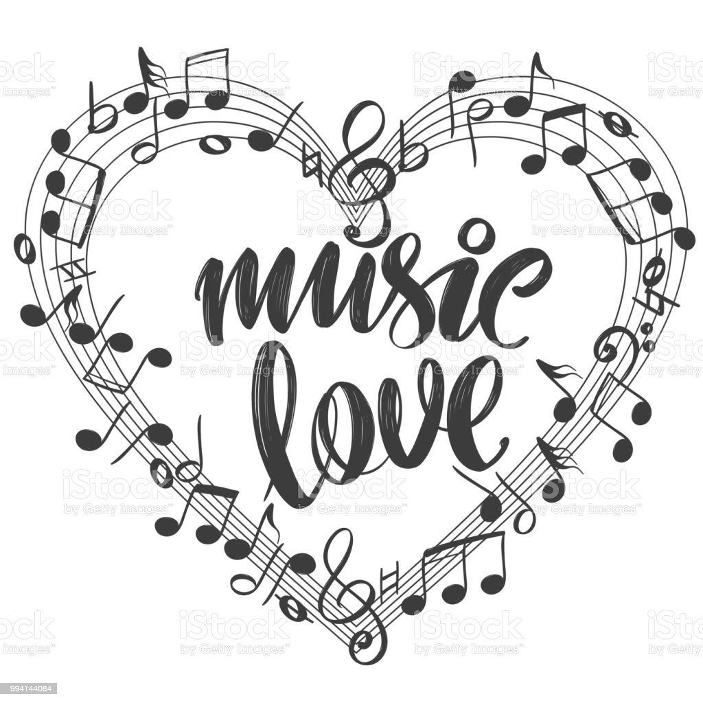 Ilustración De Notas Musicales En Forma De Un Icono De Corazón