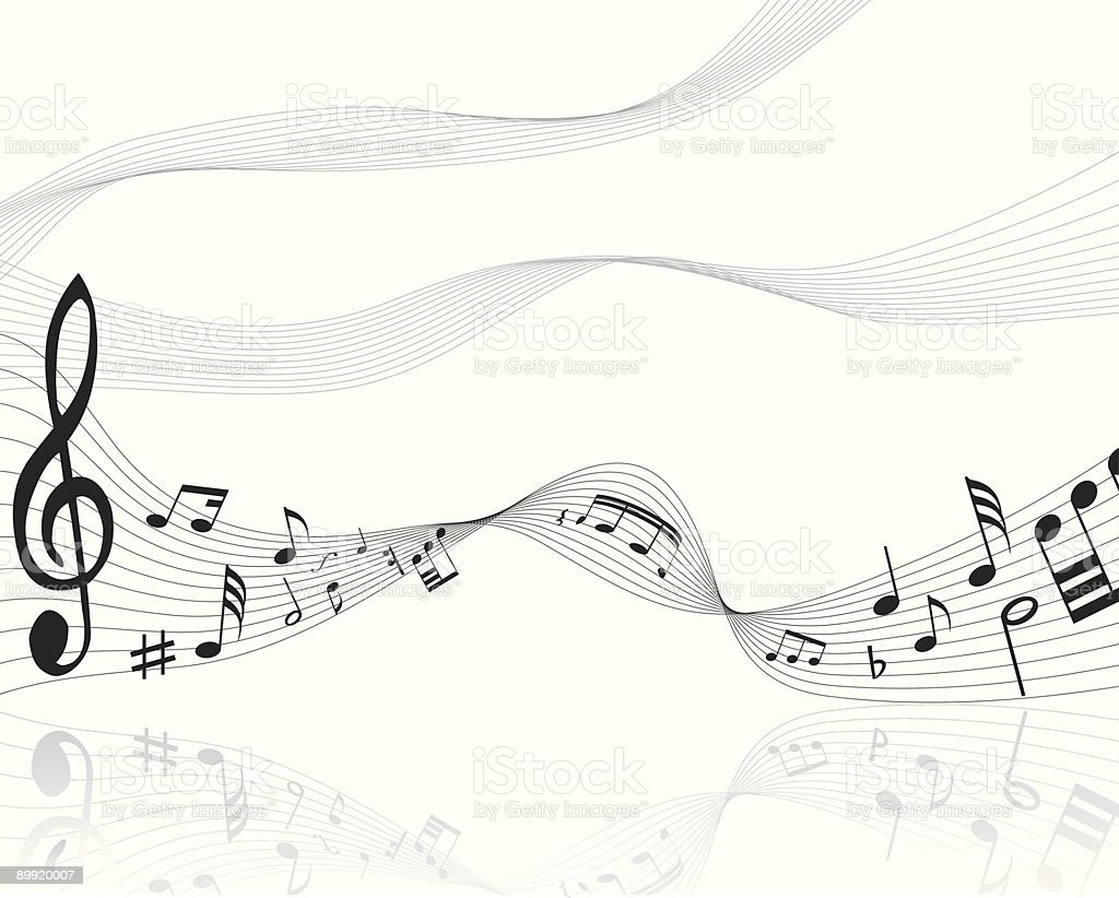 Musical notes on a scale on a white background vector art illustration