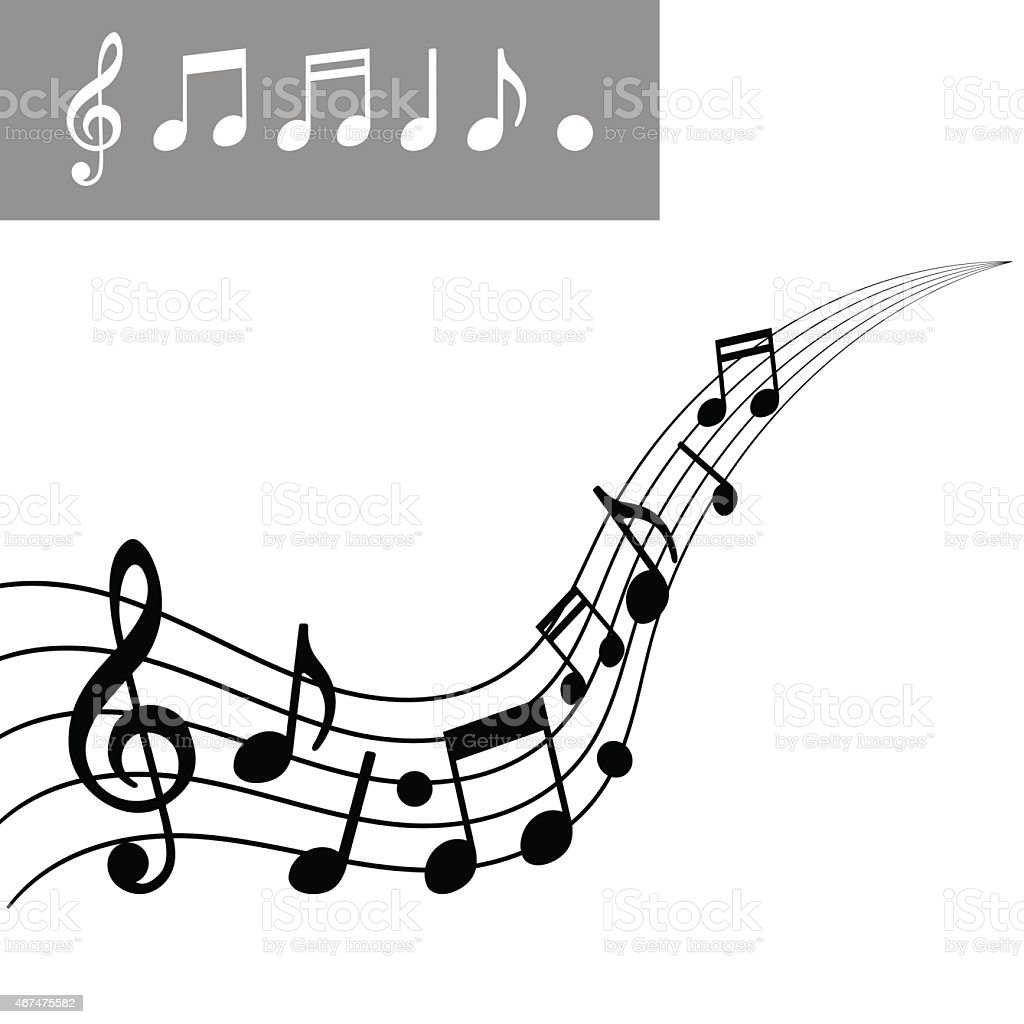 Musical notes on Scale. Music note icon set. Vector illustration vector art illustration
