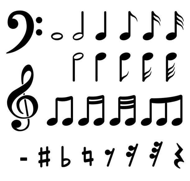 musical notes on white background - nuta stock illustrations