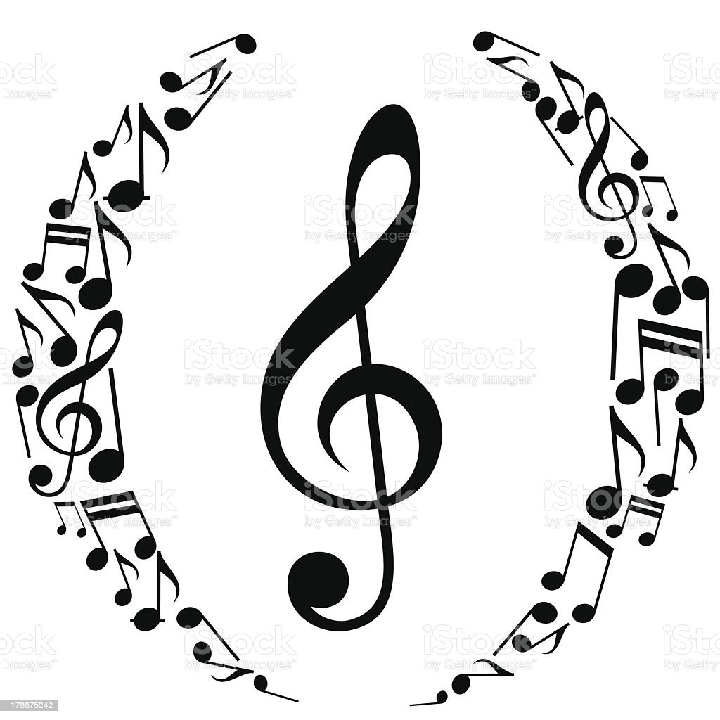 Musical Notes Oval Composition vector art illustration