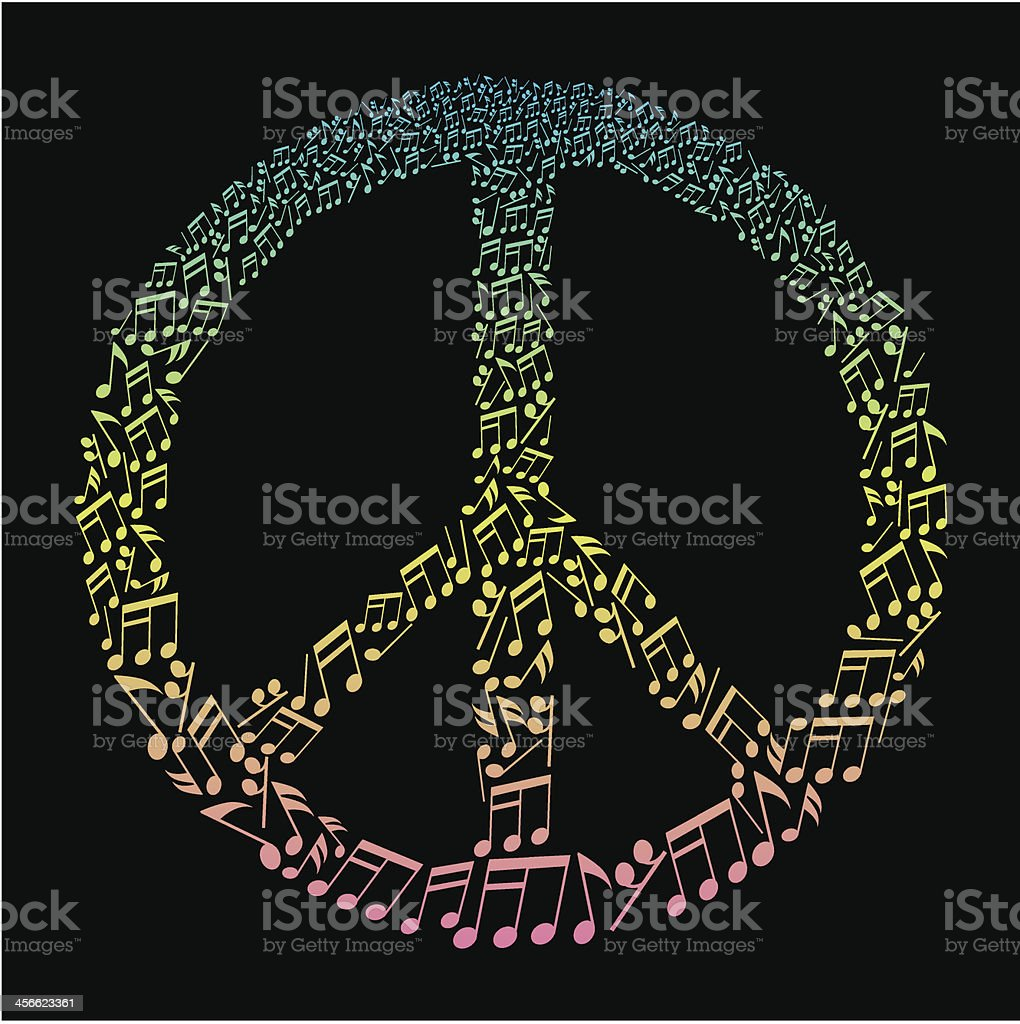 musical notes peace sign royalty-free stock vector art
