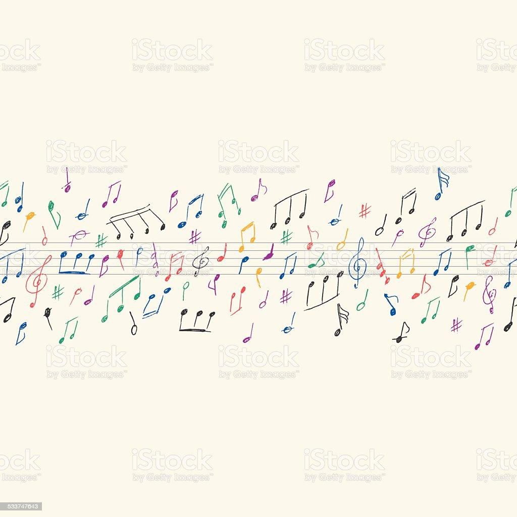 Musical notes seamless vector art illustration