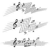 musical notes design elements