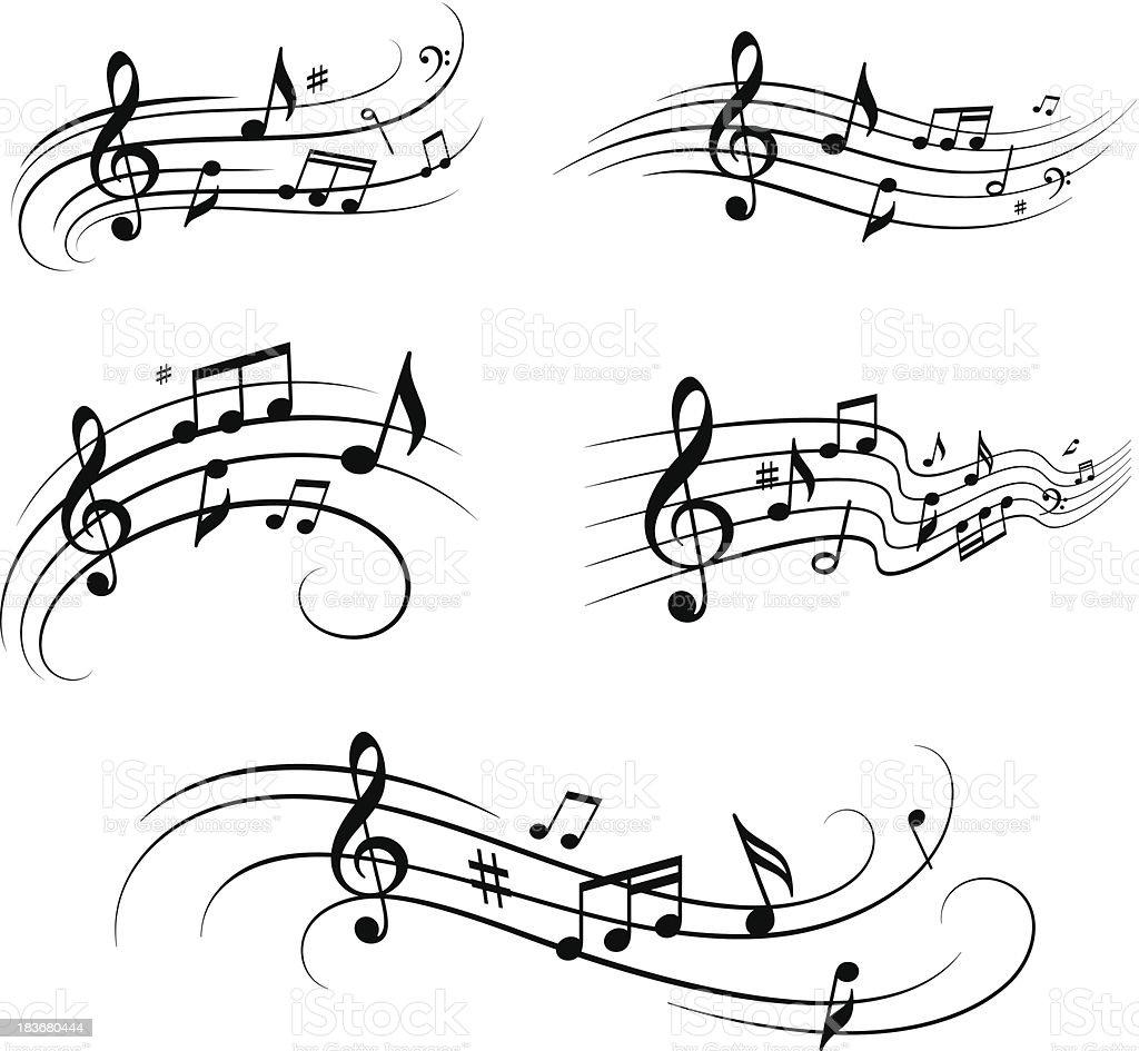 Musical notes set vector art illustration