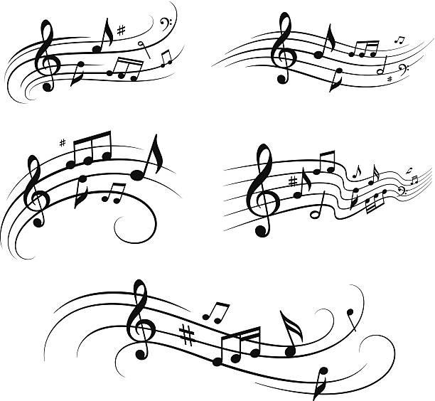 musikalischen notizen set - musiksymbole stock-grafiken, -clipart, -cartoons und -symbole