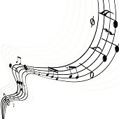 Musical Notes with swirl, Music Elements.