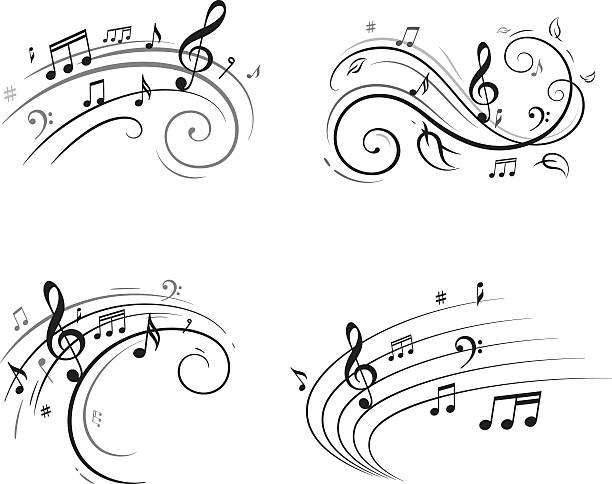 musical notizen - musiksymbole stock-grafiken, -clipart, -cartoons und -symbole