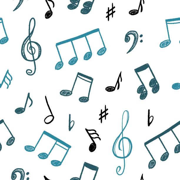 musical notes vector - nuta stock illustrations