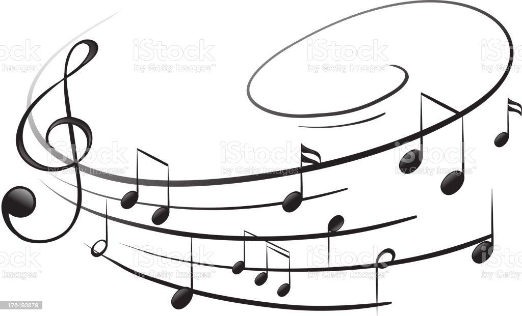 Musical notes with the G-clef vector art illustration