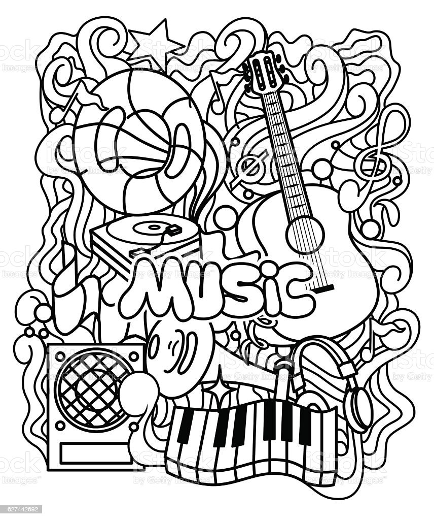 zen tangle musical ornament for coloring page or relax coloring book royalty free - Music Coloring Pages