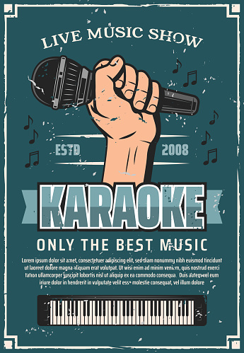 Musical party karaoke live music microphone poster