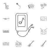 Musical player with earphone icon. Simple element illustration. Musical player with earphone symbol design from Musical collection set. Can be used for web and mobile on white background