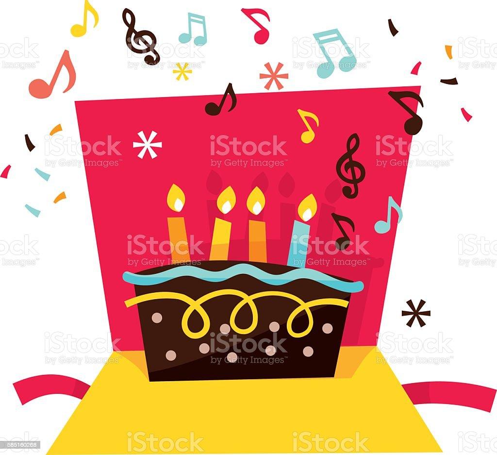 Musical Pop Up Birthday Card Lizenzfreies Stock Vektor Art Und Mehr
