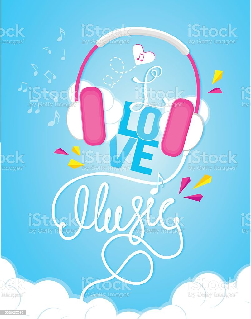 Musical Poster I Love Music Lettering Calligraphy For You
