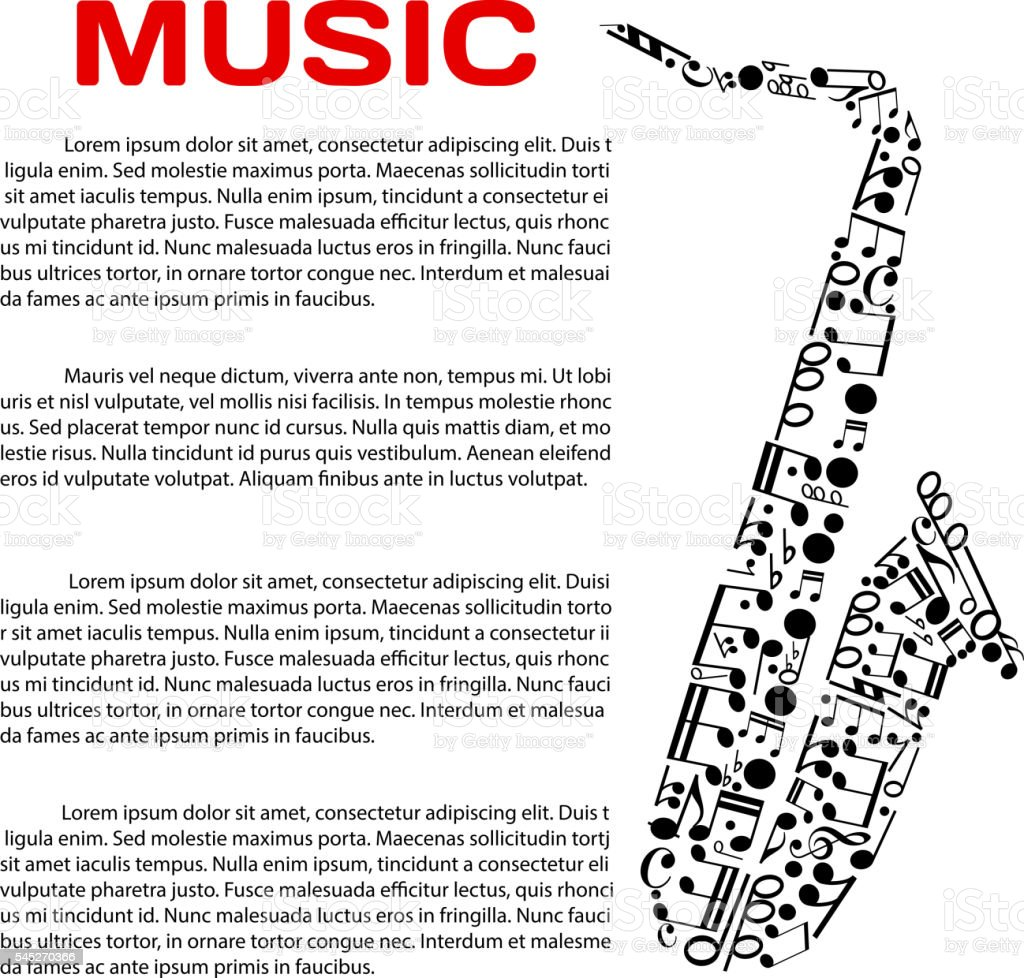 Musical poster with notes in a shape of saxophone vector art illustration