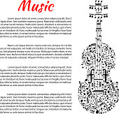 Musical poster with violin shape and notes