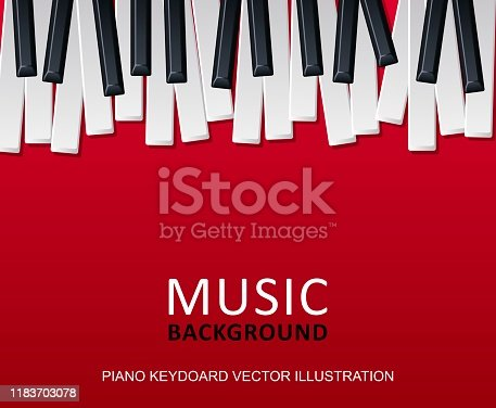 Musical red background with piano keys and text. Graphic design template can be used for background, backdrop, banner, brochure, leaflet, publication. Music festival poster template. Vector Illustration