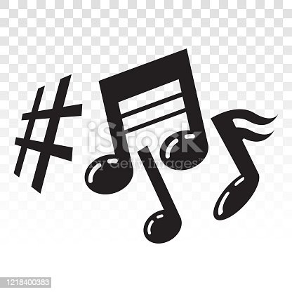 istock Musical scale symbol or Musical notes on a transparent background. 1218400383