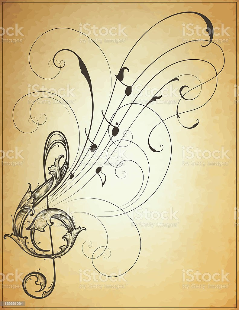 Musical Scroll Flow royalty-free stock vector art