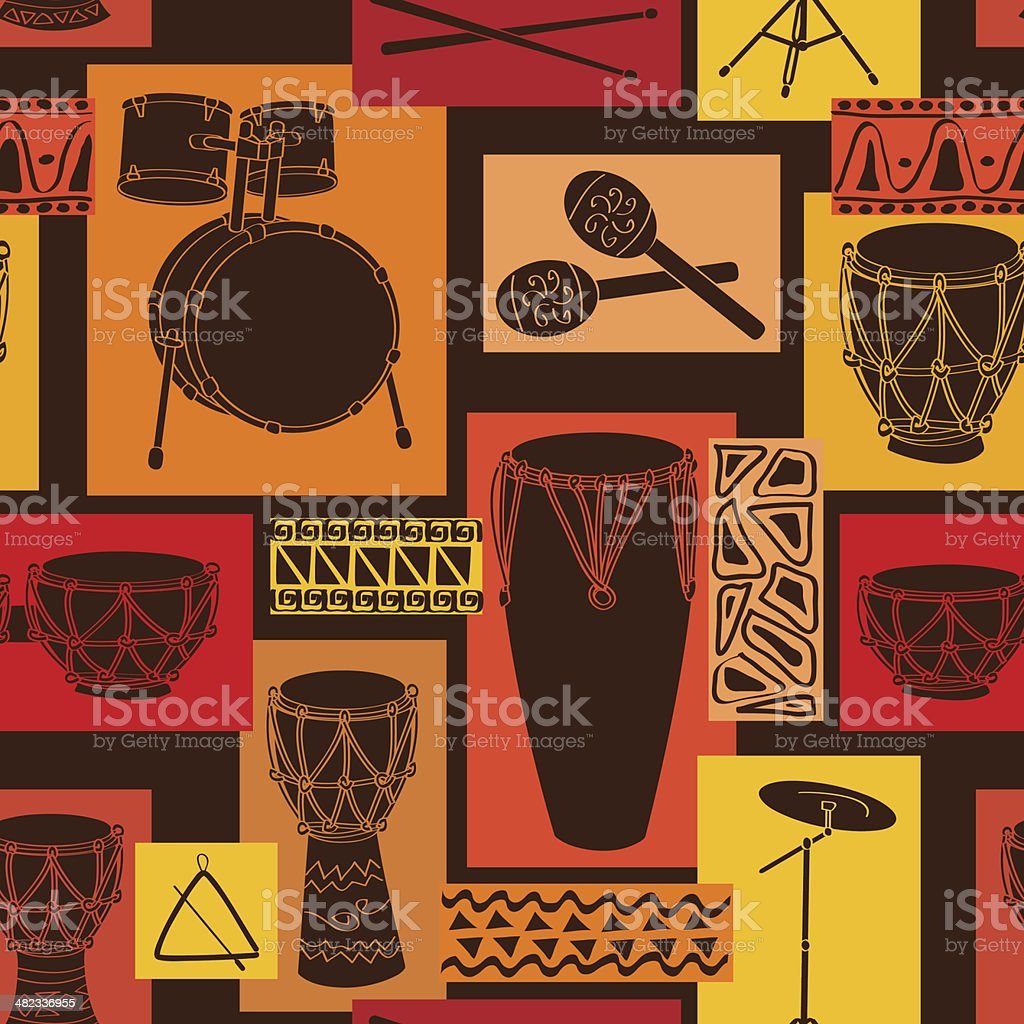 Musical seamless pattern of drum set vector art illustration