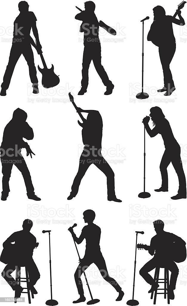 Musical stars performing on stage royalty-free musical stars performing on stage stock vector art & more images of activity