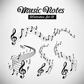 Wavy music staves. Vector set on light grey background