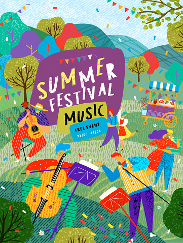 Musical summer dance festival. Vector illustration of musicians, dancers, disco, dancing people and dj in the street for poster, flyer or background.