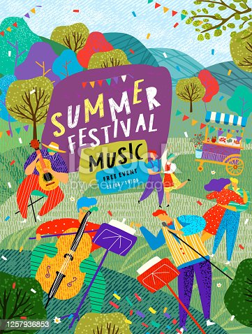 istock Musical summer dance festival. Vector illustration of musicians, dancers, disco, dancing people and dj in the street for poster, flyer or background. 1257936853