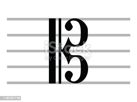 Black Flat Isolated Musical Symbol of C Clef (Alto Clef, Tenor Clef)
