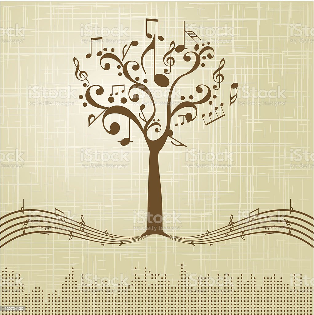 Musical Tree on brown texture background royalty-free stock vector art