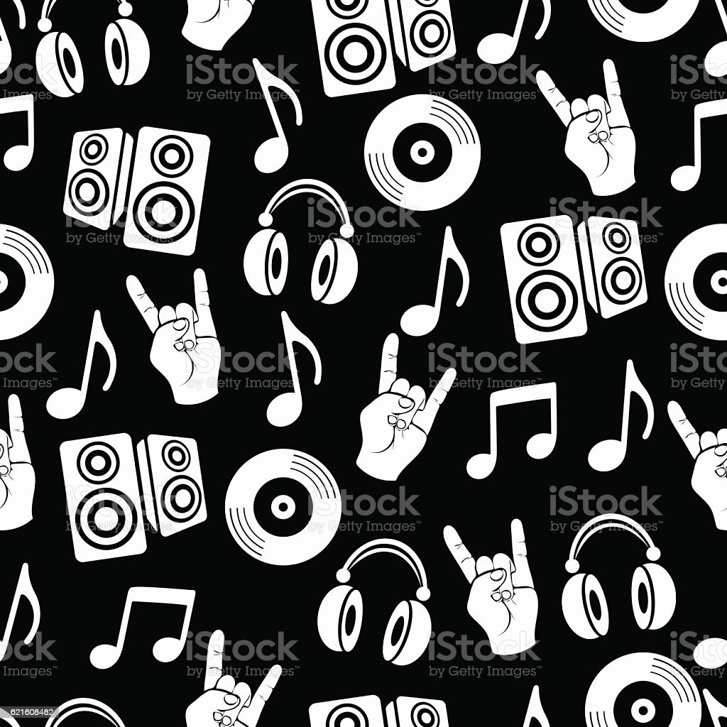 Musical Vector Background Music Accessories Seamless Pattern Stock