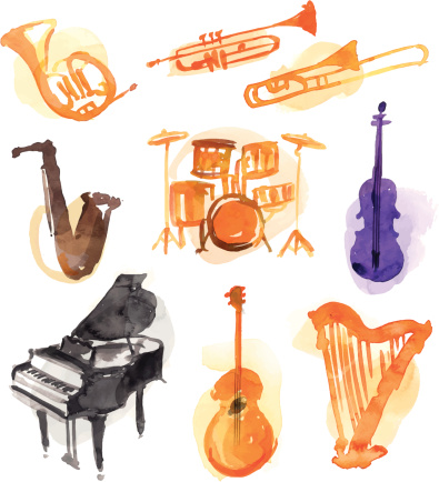 Musical Watercolor Instruments