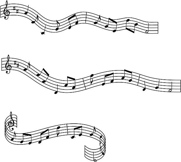 Musical waves design elements vector art illustration