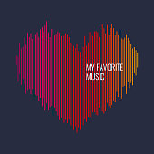 Musical waves in the shape of a heart in the background. Vector illustration