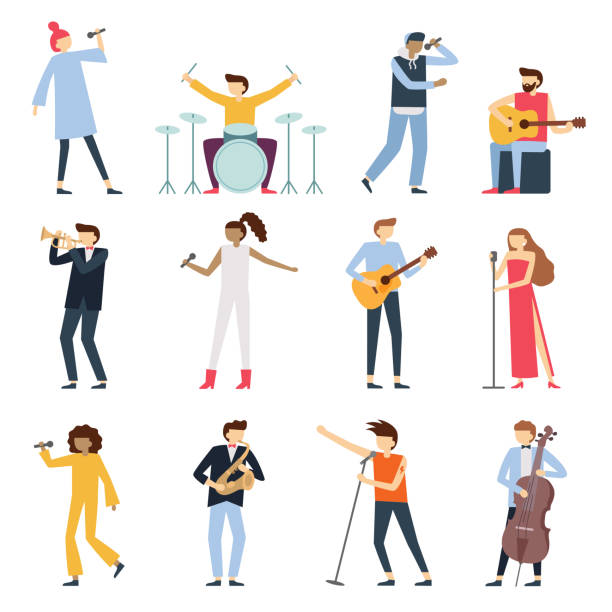 musician artists. guitar playing artist, young drummer and pop song singer. musical instruments stage players isolated flat vector set - muzyk stock illustrations