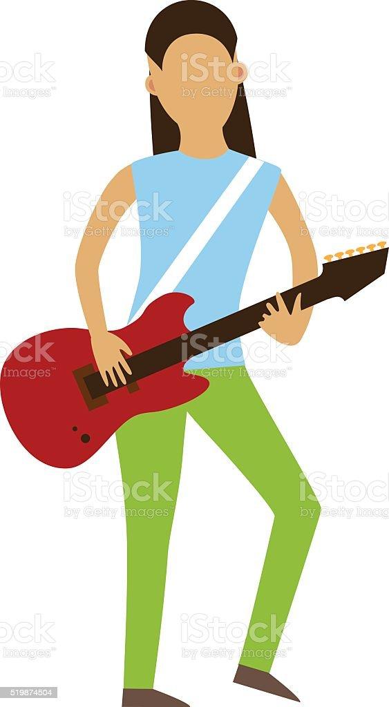 Musicien De Personnages De Dessins Avec Guitare Seul Sur Fond Blanc