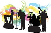 A vector silhouette illustration of a live band performing inclduing a keyboardist, singer, drummer, and guitarist in front of colourfly painted swirls.