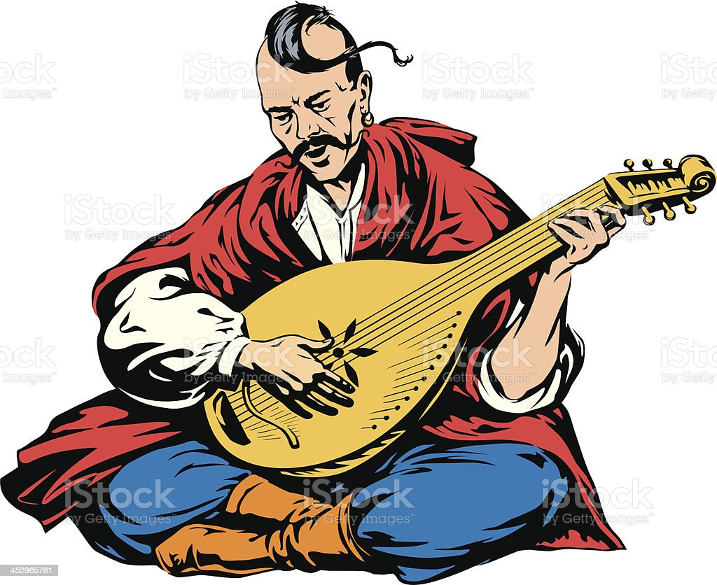 Musician cossack playing a musical instrument vector art illustration