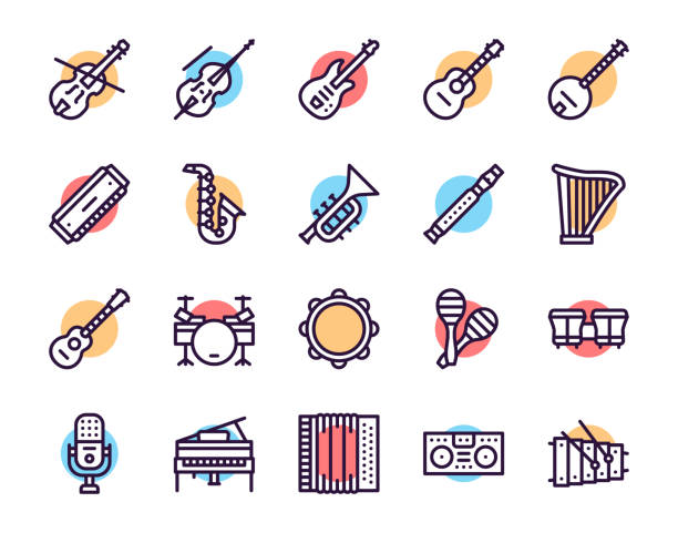 musician equipment colorful linear icons set - instrument perkusyjny stock illustrations