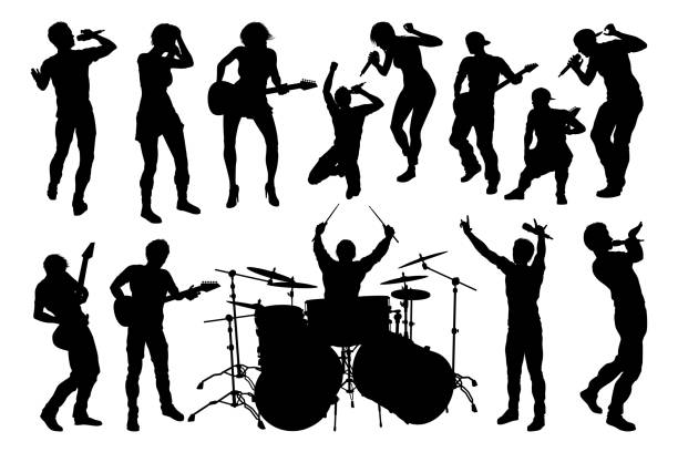 musiker group silhouettes - rocker stock-grafiken, -clipart, -cartoons und -symbole