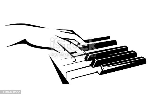 female musician hand playing the piano keyboard - classical music concept black and white vector design