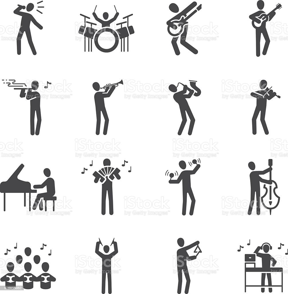 Musician icon set vector art illustration