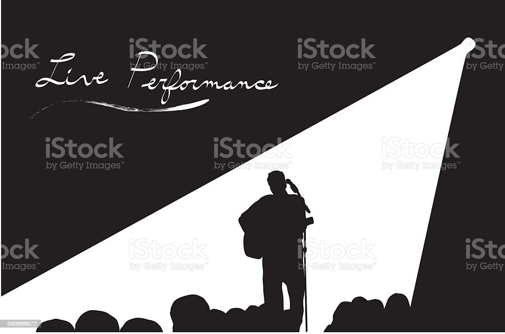 Musician In The Spotlight vector art illustration