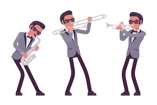 Musician, jazz, rock and roll man playing professional wind instruments