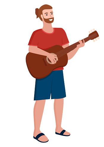 Musician Man Playing Guitar Muscial Instrument