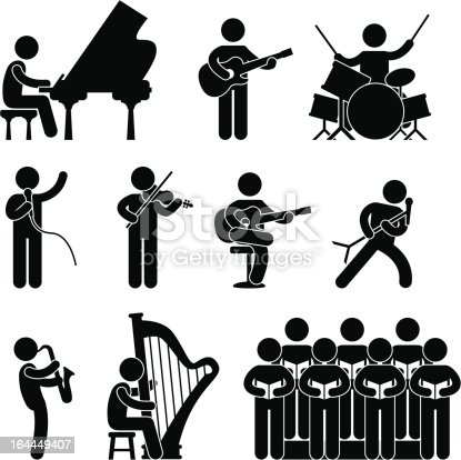 A set of pictogram representing musician from various categories.