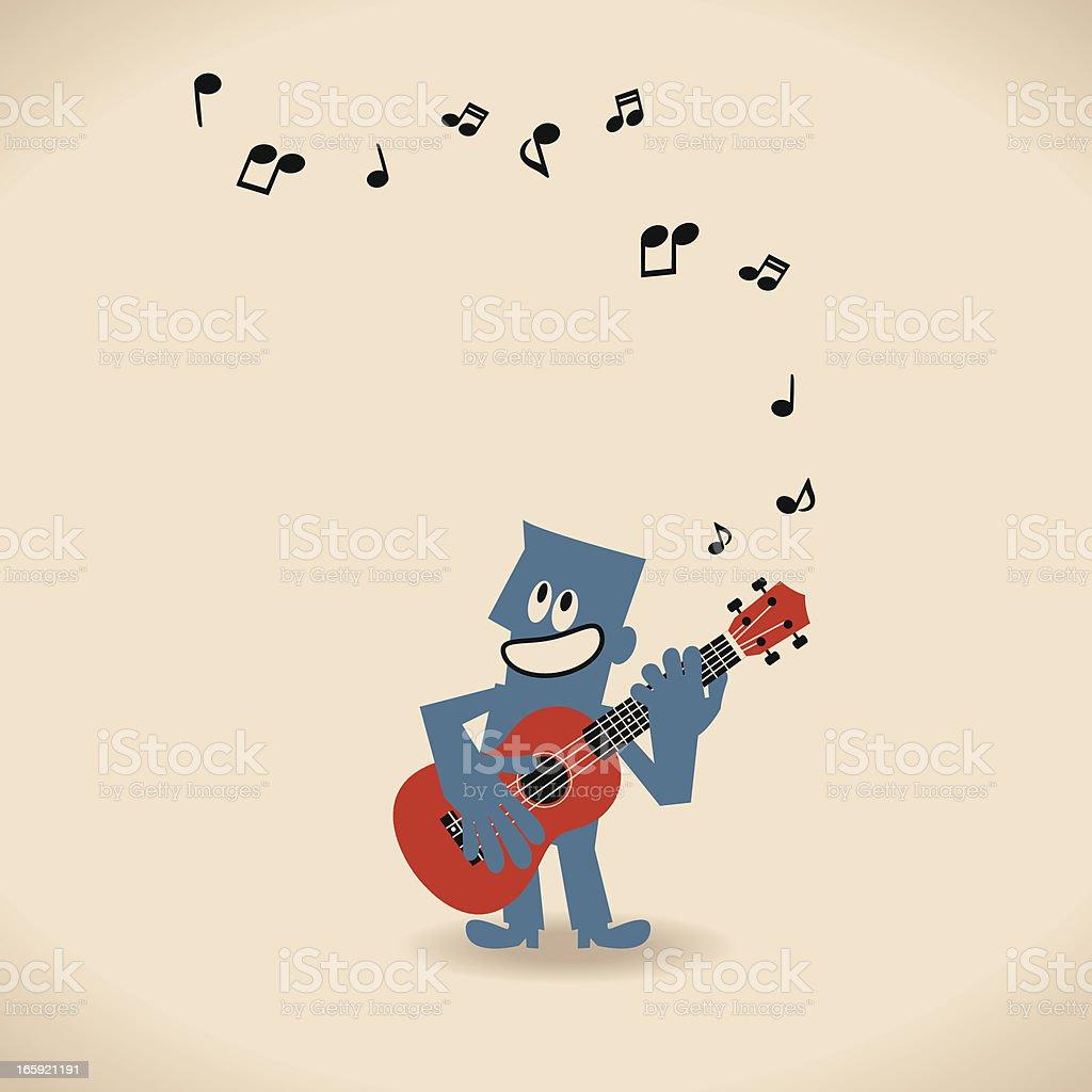 Musician Play Ukulele (Guitar) vector art illustration