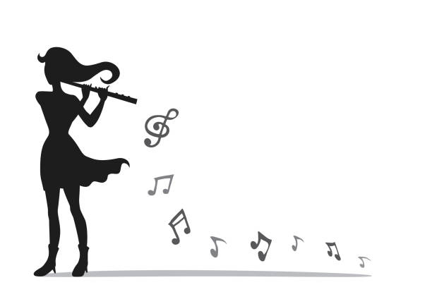 musician playing a flute in mini concert. vector style of a woman and instrument with music notes. - flet stock illustrations