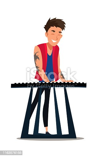 Musician playing synthesizer flat illustration. Performer, digital piano, electronic musical instrument player. Cool young man with tattoo isolated cartoon character on white background
